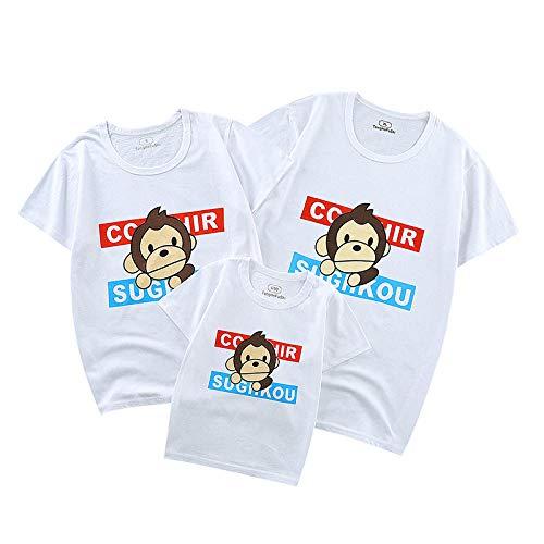 SANDA T-Shirt Mujer Baratas,Ropa de Verano para Padres e Hijos 2021 Nuevo algodón Ropa para Madre y Mujer Padre e Hijo Familia Familia de Tres Parejas Camiseta de Manga corta-Y12-blanco_120/10