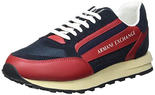 Armani Exchange Mens Osaka Running Evolution Sneaker, Navy+FIRE Brick,42 EU