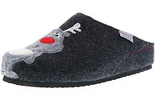 TOFEE Damen Hausschuhe Pantoffeln Naturwollfilz Rentier anthrazit, Größe:37, Farbe:Anthrazit