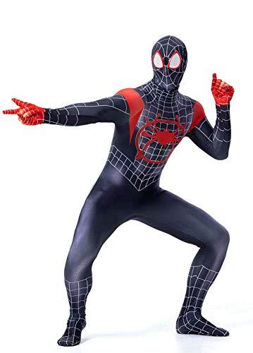 CXYGZLJ Body de máscara de Millas de Spiderman Morales de Adultos, Mono de Spiderman Negro, 3D Impresos Super Heros Halloween Cosplay Disfraces (máscara de Ojo roja),Medium-Black