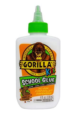 Gorilla Kids School Glue, 4 ounce. Bottle, White, (Pack of 1)