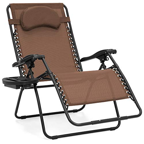 Best Choice Products Oversized Folding Mesh Zero Gravity Recliner Chair w/Cup Holder Accessory Tray and Removable Pillow, Brown