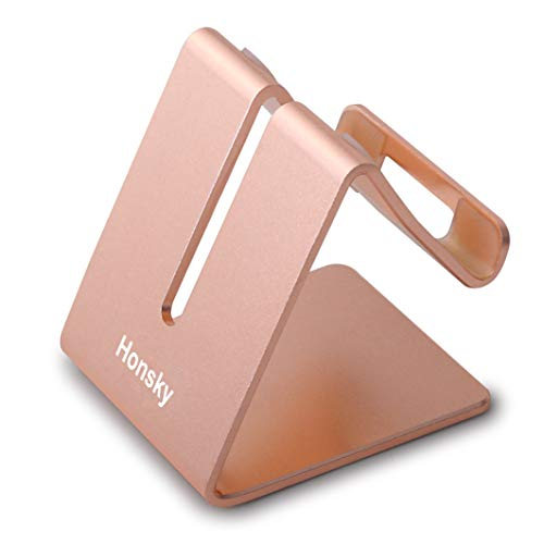 Honsky New Version Solid Aluminum Cell Phone Tablet Desk Charging Stand, Universal Display Desktop Holder Cradle, Compatible with iPhone iPad Mini Android Home Office Travel Kitchen, Rose Gold