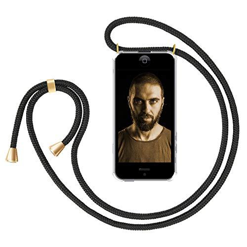 ZhinkArts Handykette kompatibel mit Apple iPhone 5 / 5S / SE - Smartphone Necklace Hülle mit Band - Handyhülle Case mit Kette zum umhängen in Schwarz - Gold