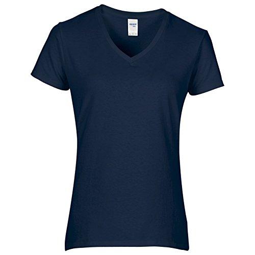 Gildan - T-shirt à manches courtes et col en V - Femme (XL) (Bleu marine)