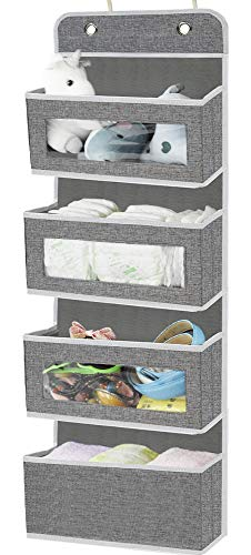 Door Hanging Organizer Storage with 4 Large PocketsWall Hanging Storage with Clear Windows for Pantry Nursery Bathroom Closet Dorm