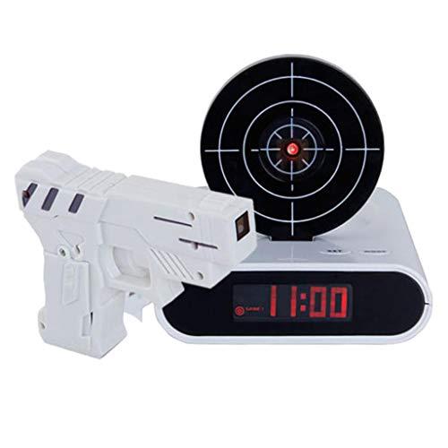 PETSOLA LED Digitaler Wecker mit Zielscheibe und Infrarot Pistole - Weiß