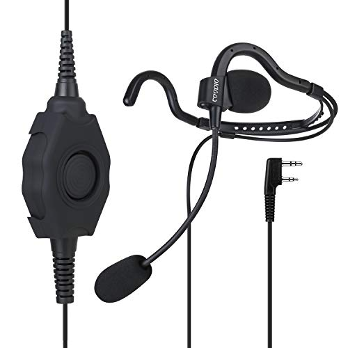 COODIO Kenwood Funkgeräte Tactical Ohrhörer Hinter-Kopf Security Headset [Boom Mikrofon] [Rugged PTT] Kopfhörer Für 2 Pin Kenwood Baofeng Wouxun