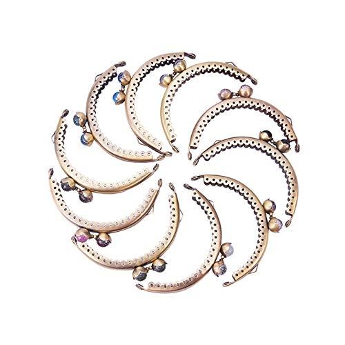 PandaHall 10 Cierres de Hierro para Monedero de Mujer DIYKiss Clasp Locks con Perlas acrílicas redondasplatinocolor mixto68 x 85~87 x 11 mmorificio:1,5 mm10 Unidades/Juego. Bronzo Antico 58x86