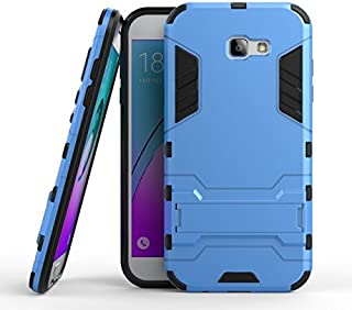 For Samsung Galaxy A7 2017 2 in 1 Iron Armour Tough Style Hybrid Dual Layer Armor Defender PC+TPU Protective Hard Case with Shockproof Case Phone Case Kickstand -case (Color : Blue)