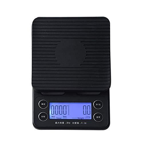 Elektronische weegschaal, digitale mini-zakweegschaal, multifunctionele keukenweegschaal, elektronische weegschaal en blauwe LED-HD-chronograaf-functie, nauwkeurigheid 3 kg/0,1 g mooi, kleurbeze