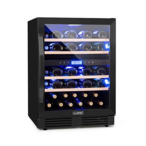 Klarstein Vinovilla Onyx 43 Vinoteca - 129 l, 43 botellas de vino, puerta de cristal, iluminación interior 3 colores, 4 cajones madera de haya, 2 zonas de refrigeración con controles separados, negro