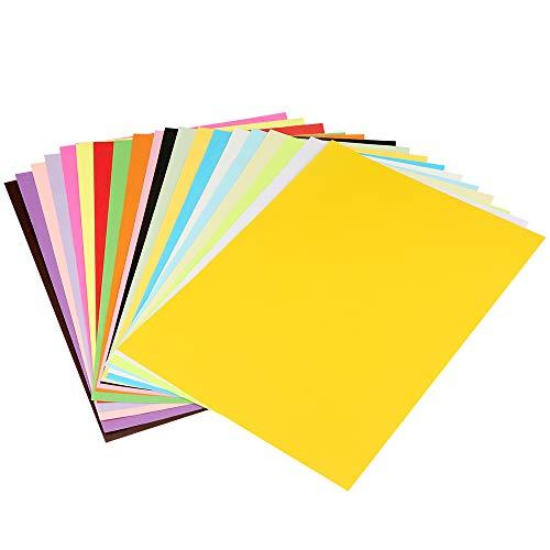 100 Carta Colorata A4, Fogli Origami DIY 210x297mm, 70g Fogli Colorati Double Face,Carta Colorata 20 colori Fogli Origami per Fare Origami DIY