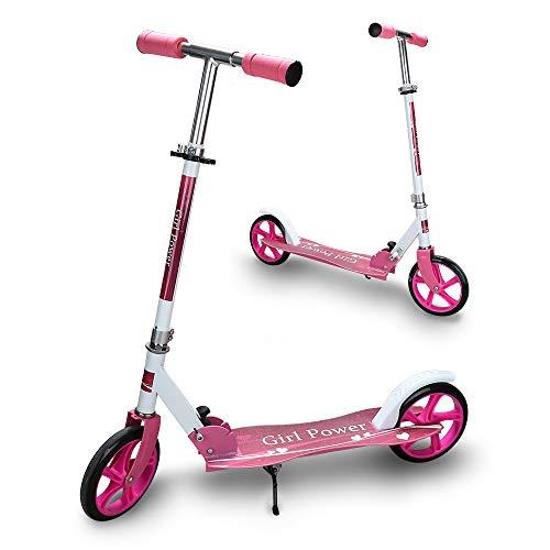 Hengda Kinderscooter ab 5 Jahre, Kinderroller 205mm Kick Scooter, klappbar Kinderroller mit 2 Radern Höhenverstellbar Sichere Premium Kinder Roller (Rosa)