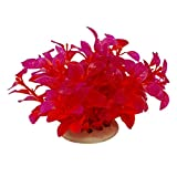 Nigoz - Hierba artificial de agua de plástico simulado para esconder peces, decoración de peces, decoración de acuario, color rojo, calidad superior, creativa, práctica y rentable
