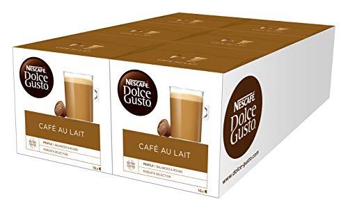 NESCAFÉ Dolce Gusto Café au Lait 96 Kaffeekapseln (ausgewählte Robusta Bohnen, Leichter Kaffeegenuss mit cremigem Milchschaum, Aromaversiegelte Kapseln) 6er Pack (6 x 16 Kapseln)