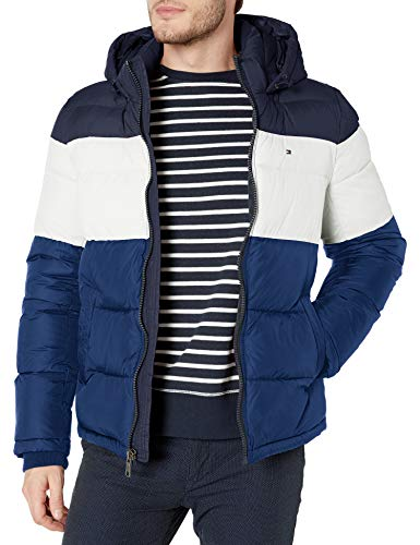 Tommy Hilfiger Men's Classic Hooded Puffer Jacket (Standard and Big & Tall), Bluebell Color Block, Small