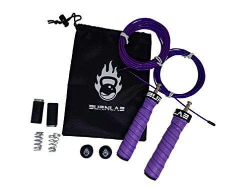Burnlab Pro Power Plus Skipping Rope - Anti Slip, Adjustable, Ball Bearing Design for Gym, Crossfit, Double Unders, Speed Jumping, Boxing, Cardio and Weight Loss - for Men and Women (Purple)