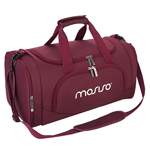 MOSISO Sports Duffel with Shoe Compartment Men/Women Dance Travel Weekender Gym Bag, Wine Red