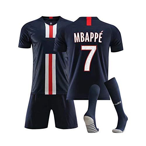 Crstal Mbappe #7 Trikot Shorts und Socken Kinder und Jugend Größe - Geschenke für Kinder Erw. Jungen Baby Fußball T-Shirt Bedrucken (Size:26)