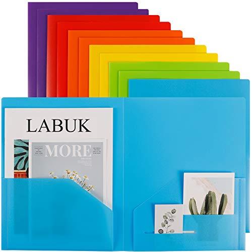 LABUK 12 Pack Plastic Pocket Folder, Letter Size Heavy Duty Folders with Pockets, Vinyl Folders for School Office, Assorted Color