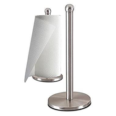Zanzer Stainless Steel Kitchen Paper Towel Holder Dispenser - Weighted Base - Sturdy, Durable, Rust-Proof - Single Easy One-Handed Tear - Fits Standard or Jumbo-Sized Rolls