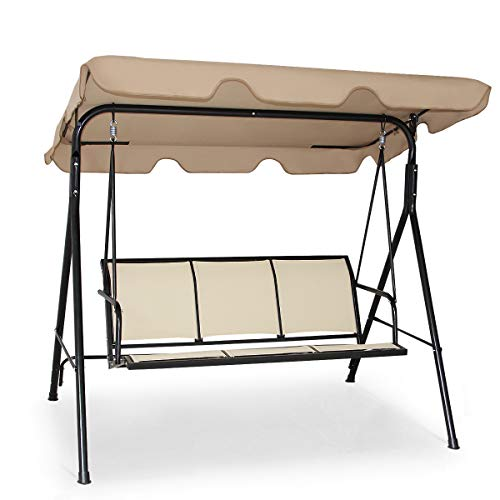 Tangkula 3 Person Patio Swing, Steel Frame with Polyester Angle Adjustable Canopy, All Weather Resistant Swing Bench, Suitable for Patio, Garden, Poolside, Balcony (Brown)