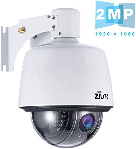 ZILNK PTZ IP Dome Kamera Outdoor, Überwachungskamera WLAN Aussen, 1080P Schwenken/Neigen/5-Fach Optischer Zoom, IR-Nachtsich, IP65 wasserfest, Bewegungsmelder, Unterstützung von 64GB SD Karten