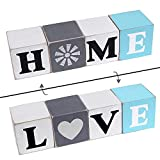 Wooden Modern Farmhouse Table Decor-Home&Love Welcome Block Letters for Decor Standing, 2 Sides Rustic Farmhouse Coffee Table Shelf Tiered Tray Decorations Sign for Home Shelves Living Room Kitchen