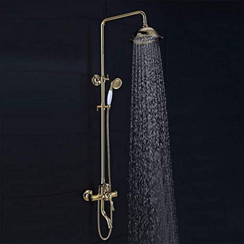 LHW - Set de Ducha Che, Juego de baño, Oro Europeo, Ducha, Set de baño, Retro, Grifo de Ducha, Pared, Montaje en Pared