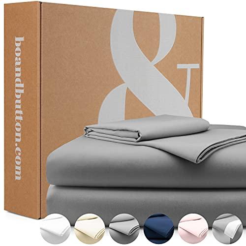 bo&button® Mako Satin Bettwäsche, echte Luxusqualität, Set 135x200 cm, 100{44afd61c8122e13f98b09aa81ce5c2d482ef17a1e1ae8e1dbec7e6dd9df55a79} feinste GOTS Bio Baumwolle, Grau/Stone/Anthrazit
