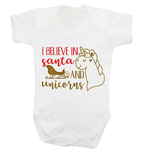 Flox Creative Baby Gilet Believe in Santa Unicorns - Blanc - XS