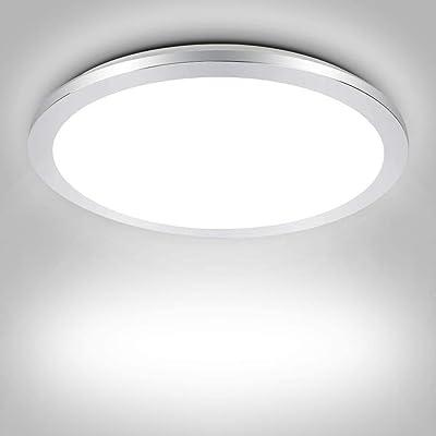 PADMA Plafonnier LED 18 W pour salle de bain - Étanche IP44 - Moderne - Argent - Ultra fin - 6000 K - Blanc froid chromé - Pour salon, chambre, cuisine, couloir, bureau