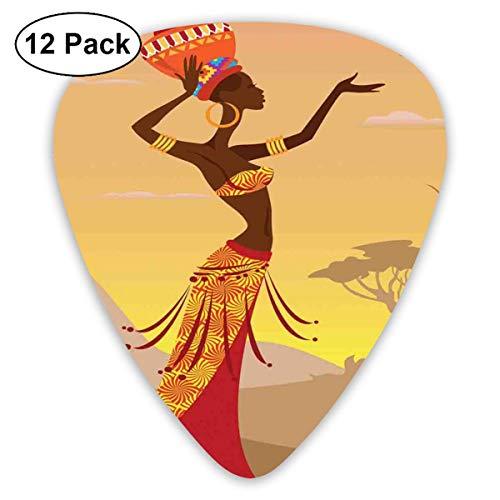 Afrikanische Afrikanerin in der Wüste mit Möwen, die herum fliegen Folk Female Stylish Artful Print Amber Tan (12er Pack)