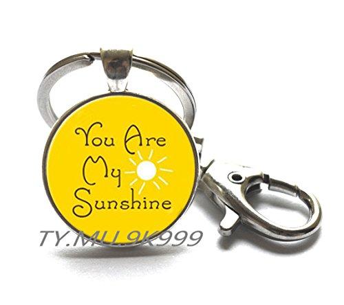 """Y056 Schlüsselanhänger mit Aufschrift """"You are My Sunshine"""", mit Sonnenschein, Hand-Schlüsselanhänger, inspirierendes Zitat, Geschenk für sie, Weihnachtsgeschenk, Muttertag."""