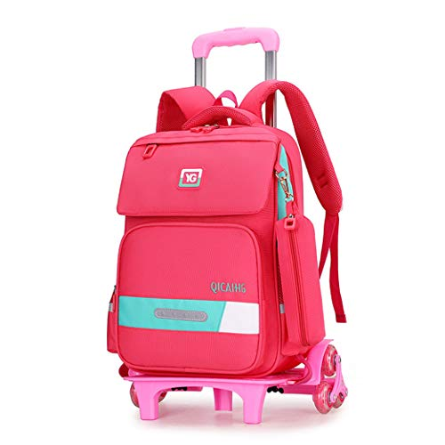Primary school student trolley bag, six-wheel roller backpack push wheel bag large capacity carry-on travel bag With pencil case and safety reflector (6 wheels)-Pink-Noflash