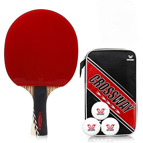 LINGOSHUN Raquetas de Ping Pong con Tecnología de Fibra de Carbono,Juego de Paleta de Ping-Pong para Juegos en Interiores Y Exteriores / 5 stars / 15x25cm