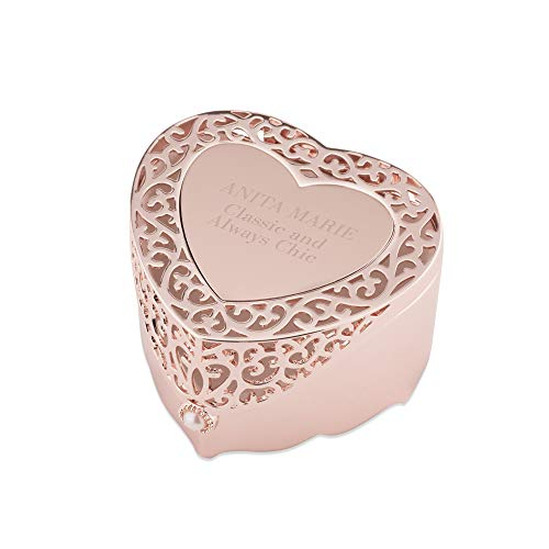 Things Remembered Personalized Rose Gold Heart Cut Out Jewelry Box with Engraving Included