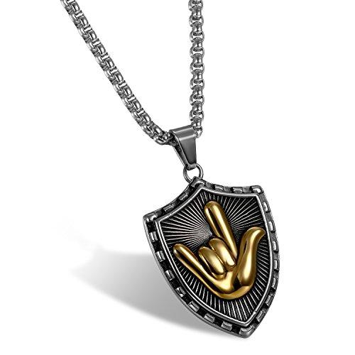 OIDEA Collar Militar Negro de Hombre Acero Inoxidable Personalizado Colgante Escudo con Hip Hop Gesto Incrustado Símbolo Love Oro Joyería con Cadena
