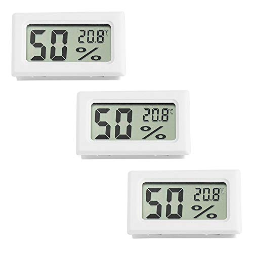 QUNQI 3個 ミニデジタルLCD屋内温度計湿度計 爬虫類用 水族館用(ホワイト)
