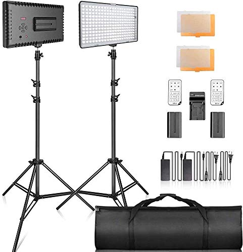 SAMTIAN Dimmable LED Video Lighting Kit 3200K 5600K Continuous Panel Light with 79 Inches Stand, Remote, Carrying Bag for Video Photography,Studio Photography,YouTube,Facebook,Live Streaming(2packs)