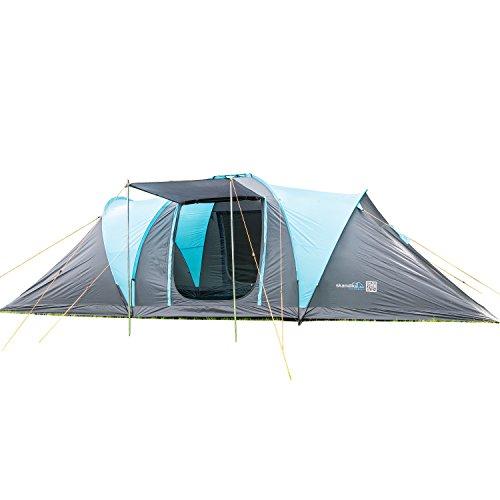 skandika Hammerfest 8 Personen Protect Camping Zelt, mit eingenähtem Zeltboden 2 Sonnendächern 2.000 mm Wassersäule