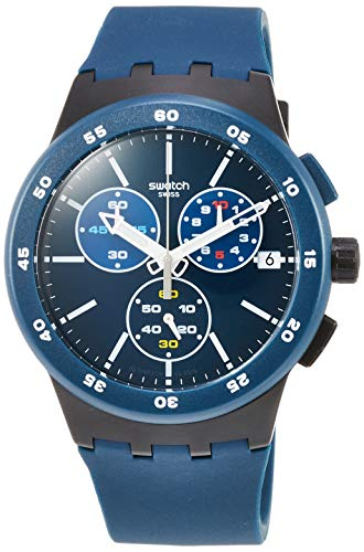 Swatch Unisex Erwachsene Chronograph Quarz Uhr mit Silikon Armband SUSB417