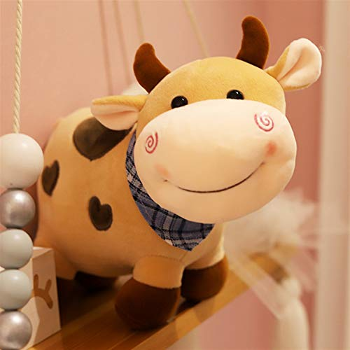 HOUMEL Bonita almohada de vaca de algodón relleno con elasticidad, juguete de peluche para Navidad, cumpleaños, regalo para dormitorio, salón 298