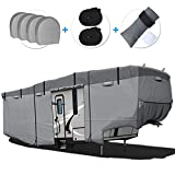 RVMasking 6 Layers 5th Wheel RV Cover Windproof Camper Cover for 28'1' - 31' RV with 4 Tire Covers, Gutter Cover - Anti-uv Prevent Top Tearing Due to Sun Exposure