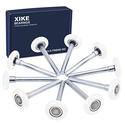 XiKe 10 Pack White 2' Nylon Garage Door Roller 4' Stem, Quiet/Durable and High Load, Use 6200-2RS Double Seals Precision Bearings.