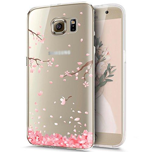 Kompatibel mit Galaxy S6 Hülle,Galaxy S6 Silikon Hülle,Durchsichtig mit Kirschblüte Blumen Cherry Blossom Muster TPU Silikon Hülle Handyhülle Tasche Klar Schutzhülle für Galaxy S6,Kirschblüte #1
