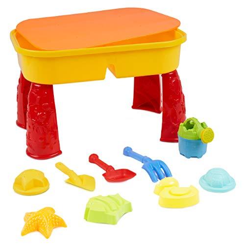 Niños Mesa para Arena y Agua con Tapa - con 8 Juguetes de Playa y Espacio para Arena y Agua - mesita incluidos plástico Compartimento para Tablas Juegos, Actividades para Infantiles