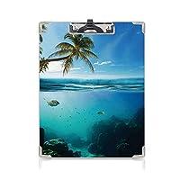 クリップボード A4 海 学用品A4 バインダー 表面のココナッツの木と空の水をテーマにした熱帯の水中ショットパラダイスイメージ A4 タテ型 クリップファイル ワードパッド ファイルバインダー 携帯便利ターコイズ
