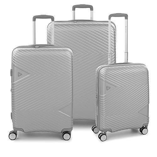 RONCATO Arrow - Juego de 3 maletas rígidas ampliables (L, medio y cabina), 4 ruedas Tsa Silver